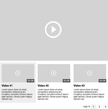 Horisontal video player selection