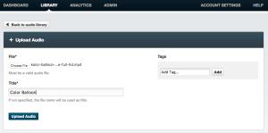Upload audio files to Streamio OVP