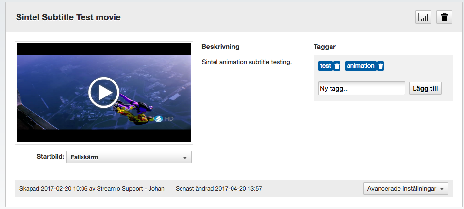 Hantera videofilmer i Streamio