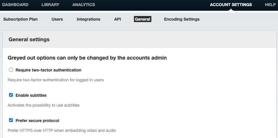 Picture shows: Account settings - General settings
