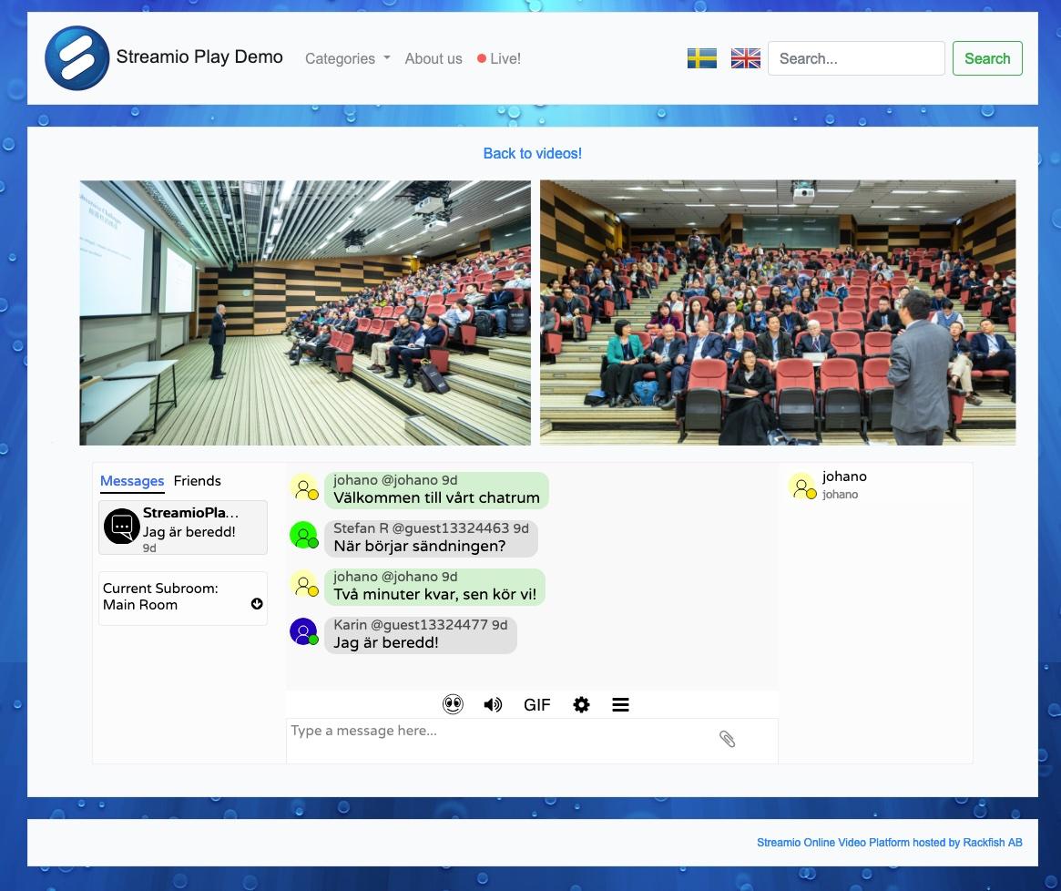 chatt och dubbla live-strömmar i Streamio Playkanaler